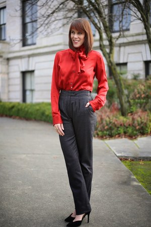 charcoal gray high waisted Peter Som pants - ruby red silk Kal Rieman blouse