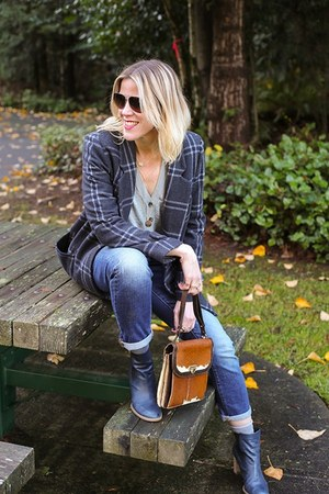 navy plaid Joa coat - navy boyfriend Gap jeans - silver cardigan Loft sweater