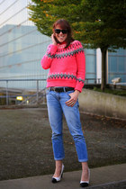bubble gum fair isle Topshop sweater - navy boyfriend Gap jeans