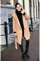 black Zara boots - neutral elite99 coat - black Zara jeans - black H&M sweater