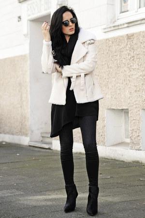 black Zara boots - black Zara dress - black Zara jeans - white OASAP jacket