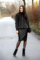 black Mango sweater - black Zara skirt - black Primark heels