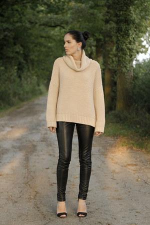 nude Zara sweater - black H&M pants - black Zara sandals