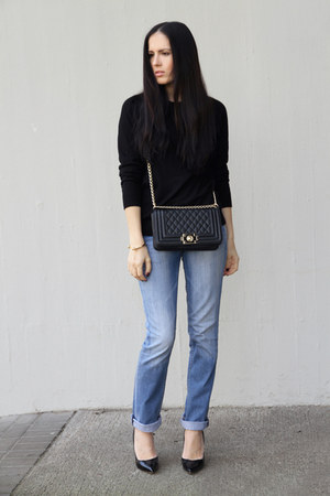 black chicnova bag - sky blue Tommy Hilfiger jeans - black Zara shirt