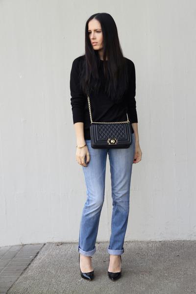 black chicnova bag - sky blue Tommy Hilfiger jeans - black Zara shirt