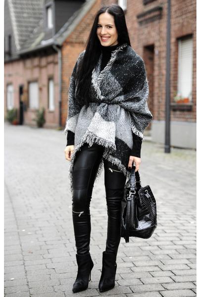 black Zara boots - black Floralpunk hat - black Mango bag - gray OASAP cape
