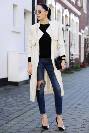 black Mango bag - ivory H&M coat - navy Zara jeans - ivory triwa sunglasses