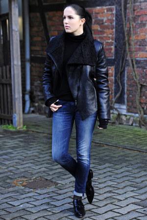 black blackfive jacket - navy Tommy Hilfiger jeans - black Zara flats