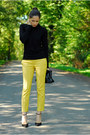 Yellow-zara-pants-black-zara-heels-yellow-primark-earrings