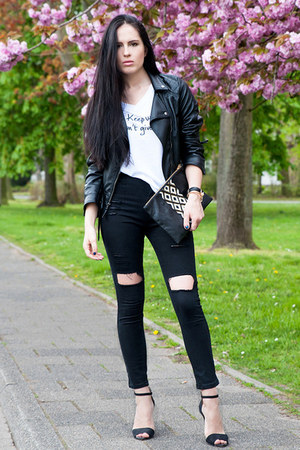 black Sheinside jeans - black Choies jacket - white Le Motto shirt