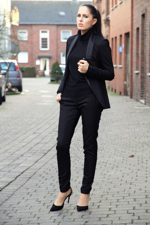 black Pimkie blazer - black H&M bag - black Pimkie pants - black Zara heels