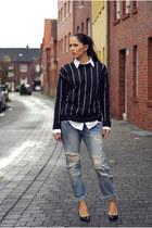 black Mango sweater - sky blue Zara jeans - black Jumex heels