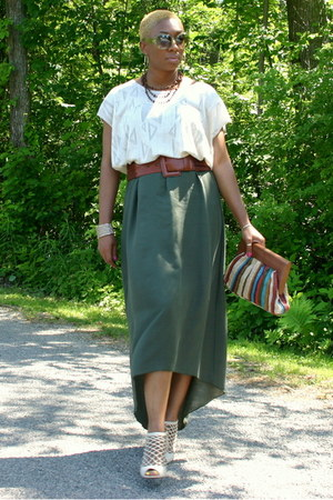 olive green skirt - beige wedges - eggshell top - brown belt