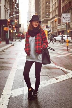 Zara jacket - sam edelman boots - asos sweatshirt