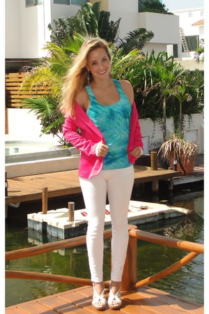 hot pink Zara blazer - Louis Vuitton bag - turquoise blue Charlotte Russe top