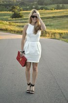 cream asos dress - ruby red clutch bag - black Ray Ban sunglasses - black heels