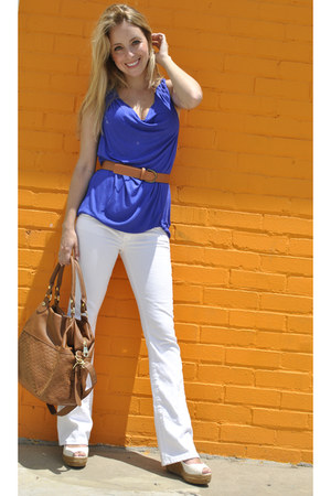 white American Eagle jeans - burnt orange Steve Madden purse - blue Mossimo top