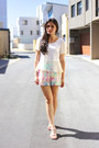 White-floral-mosaic-talulah-shorts-white-peplum-xien-top