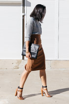 brown high waisted Forcast skirt - black lea xl clutch Minskat Copenhagen bag