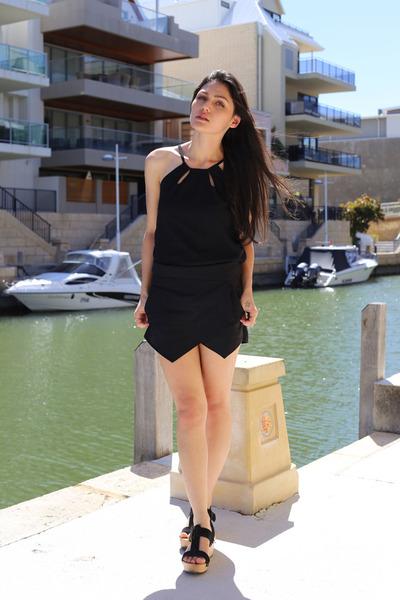black skort Zara shorts - black halter PERSUNMALL top