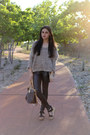 Light-brown-batwing-unlabelled-sweater-black-motorcycle-mama-mink-pink-tights