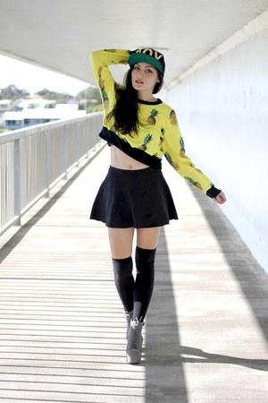 pineapple print Choies sweater - lita Jeffrey Campbell boots