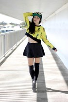 pineapple print Choies sweater - lita Jeffrey Campbell boots