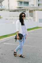 white eden FATE Clothing blazer - light blue boyfriend Sheinside jeans