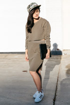 army green matching set shein skirt - olive green snapback zeroUV hat