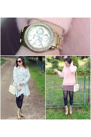 periwinkle trench Topshop coat - light pink angora H&M sweater