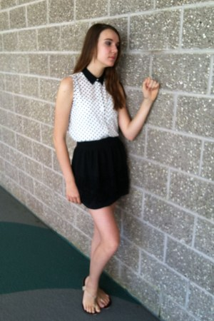 black polkadot shirt - black skirt - peach sandals