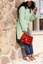 green houndstooth Lalo Couture jacket - white pumps Marc Fisher shoes