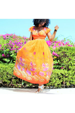 carrot orange floral print jessica taylor dress