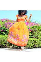 carrot orange floral print jessica taylor dress