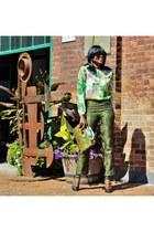 green long sleeved cynthia rowley top - dark green Cleo pants