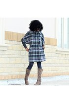 heather gray plaid cape Coco and Tasha coat