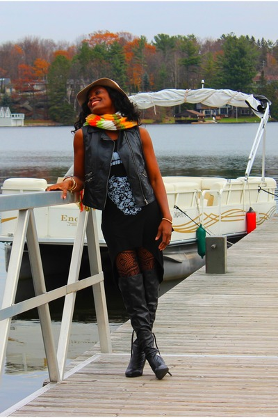 black over the knee Aldo boots - black assymetrical Atistab dress