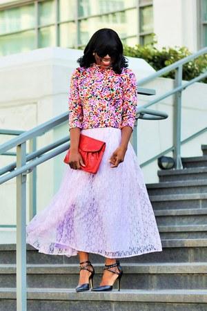 light purple midi lace skirt Sungsport skirt
