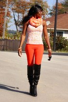 floral print One Step Up top - black Aldo boots - orange Stitches pants