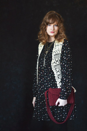 off white crochet vintage vest - black smock asos dress