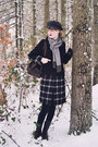 Black-plaid-kling-coat-silver-fringe-thrifted-scarf-dark-brown-thrifted-bag