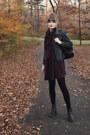 Deep-purple-smock-asos-dress-navy-denim-thrifted-jacket-black-tights