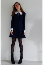 black lace up boots H&M boots - navy Pop dress - black florals tights
