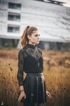 black lace Choies dress - black faux leather Pull & Bear skirt