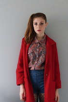 red red coat thrifted vintage coat - red paisley thrifted shirt