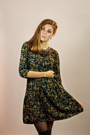 dark green printed Pull & Bear dress
