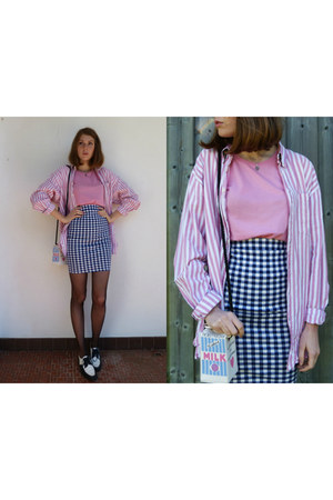 bubble gum candy stripes vintage shirt - sky blue milk bag PepaLoves bag