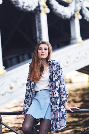 violet floral print Choies coat - sky blue denim DressLink skirt