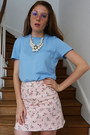 Sky-blue-cotton-mango-t-shirt-light-pink-floral-skirt-h-m-skirt