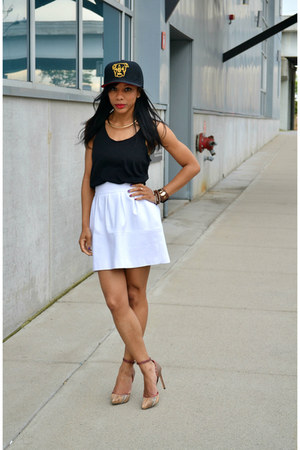 white thrifted Zara skirt - black Forever 21 t-shirt